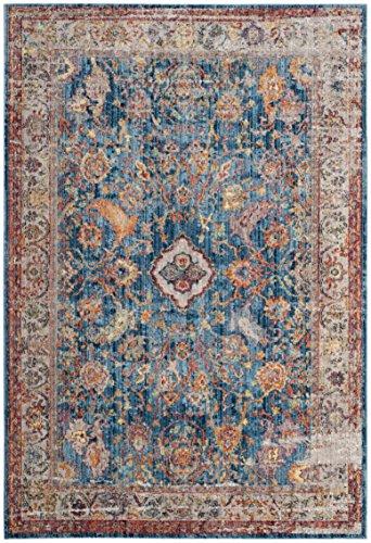 Safavieh Bristol Collection BTL361C Boho Chic Oriental Distressed Area Rug, 8' x 10', Blue / Light Grey
