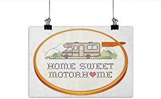 Littletonhome Home Sweet Home Modern Frameless Painting Embroidery Hoop Cross Stitch Needlework Sewing Design Trailer Home Print Bedroom Bedside Painting 27