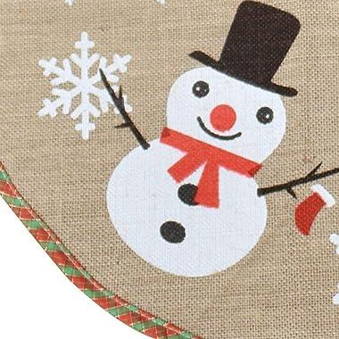 XYJIE toile de jute flocon de neige arbre de noël jupe ornement 122 cm diamètre rond intérieur extérieur tapis noël fête vaca