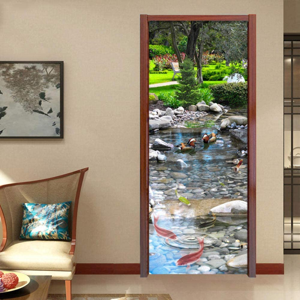 Door Stickers Decal 3D Goldfish Sticker Selling and selling Pond Same day shipping