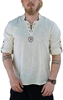 neveraway Men's Embroidery V-Neck Big Tall Roll Sleeve Cotton Blend Tees Top