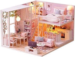 XYZMDJ Miniatyr DIY dockkit med möbeltillbehör kreativ present till älskare och vänner med dammbevis