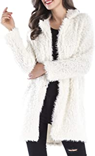LUKEEXIN Women's Turn Down Long Sleeve Solid Color Open Front Fluffy Coat