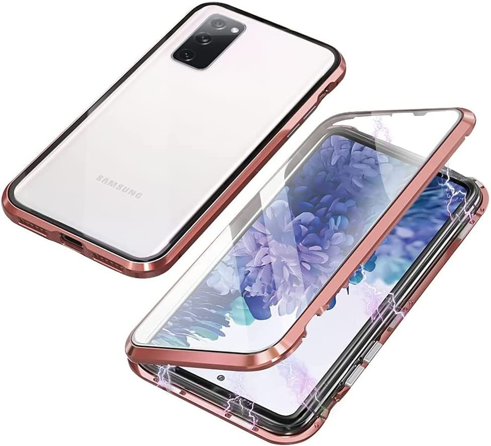 QUIETIP Compatible for Samsung Galaxy S20 FE Case,Magnetic Metal Clear Glass Case,Thin Body Metal Frame Double-Sided Tempered Glass with Built-in Screen Lens Protect,Gold
