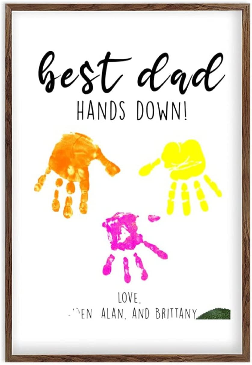 by Unbranded Framed Dad Father's Wooden Max 55% OFF Sign Day Special sale item DIY Handprint
