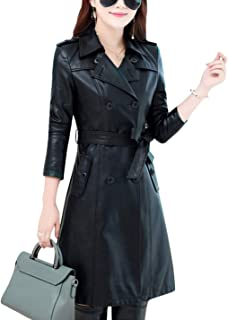 Tanming Womens Fashion Lapel Double Breasted Lambskin Leather Mid Long Jacket Coat