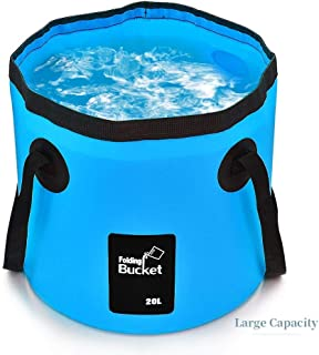 FIVE CENTS Collapsible Bucket Camping Water Storage Container 20L Portable Folding Bucket Wash Basin for Traveling Hiking ...