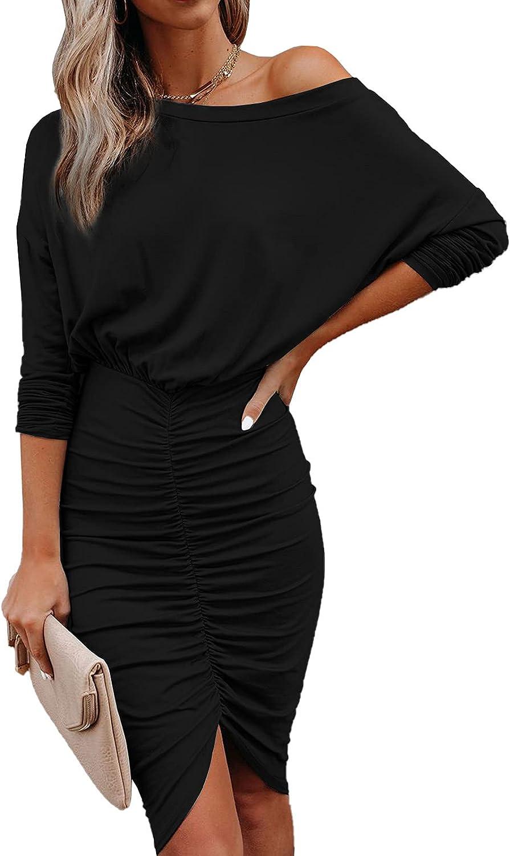 Women's Casual Crewneck Long Sleeve Split Slit Solid Party Autumn Midi Bodycon Dress