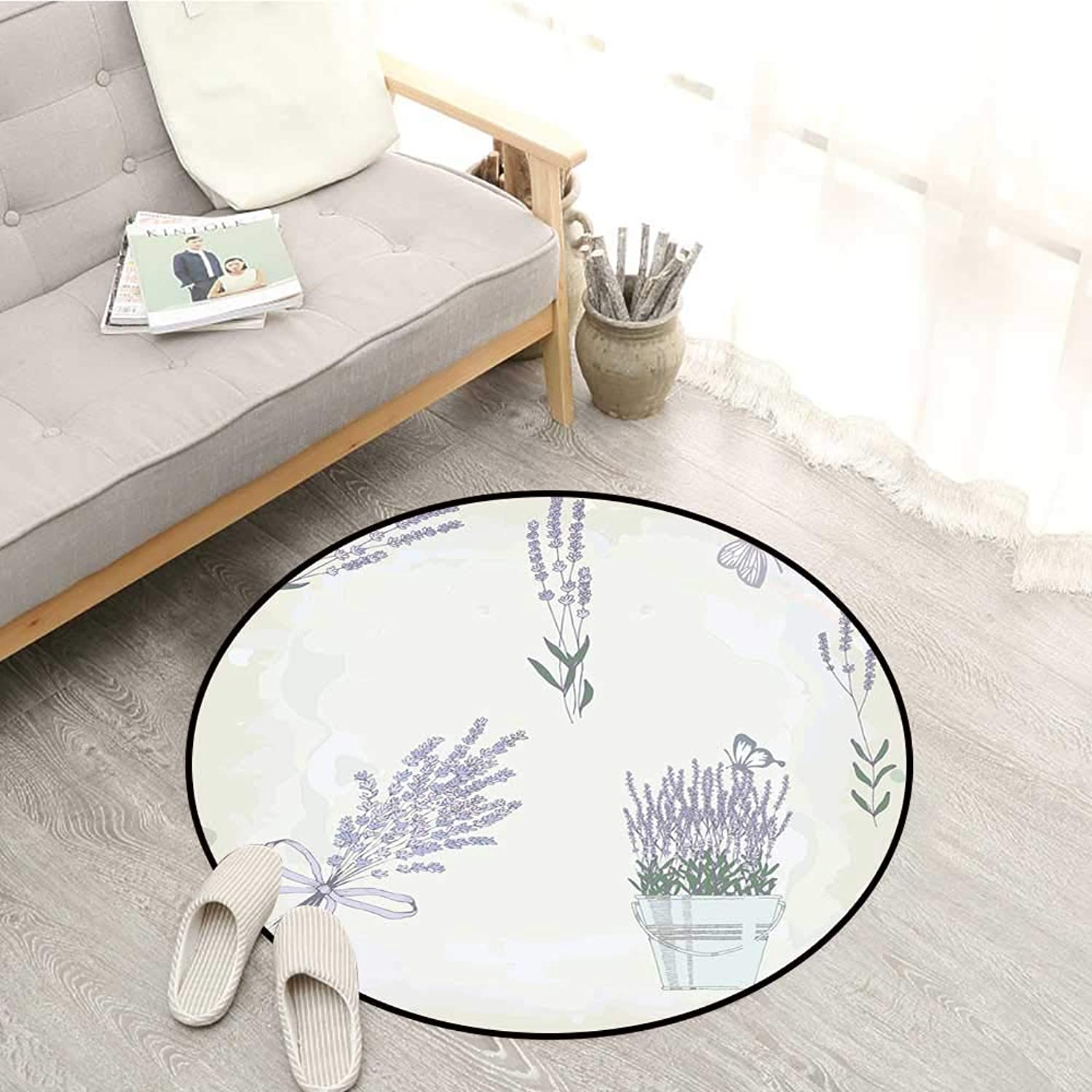 Lavender Skid-Resistant Rugs Floral Vintage Composition with Rustic Elements Butterflies Bouquets Sofa Coffee Table Mat 4'3  Pale Mauve Hunter Green
