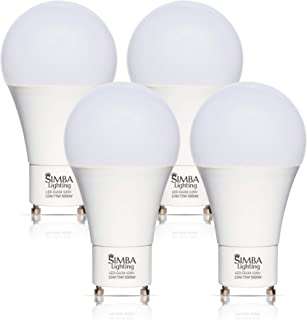 Simba Lighting LED GU24 A19 Light Bulb 12W 75W to 100W Replacement (4 Pack) 120V 2 Prong Twist and Lock Base for Ceiling Lights, Pendants, Outdoor Lanterns, Floor Lamps, Non-Dimmable, 5000K Daylight