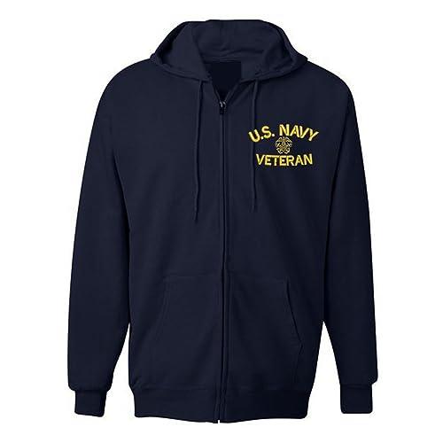 4036c735 American Law Enforcement Military U.S. NAVY Veteran Jacket Zipper Hoodie-XL