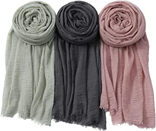 NUR | Premium Cotton Scarf | Soft Shawl | Head Wrap | Hijab for Women | Set of 3
