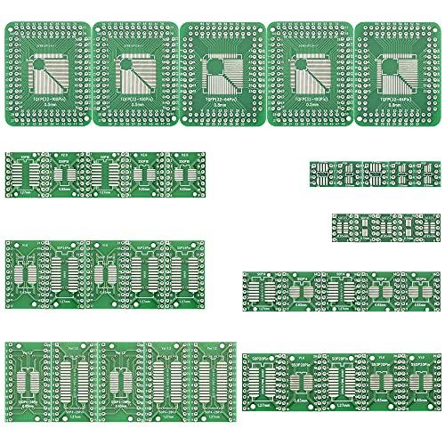 RMENROOR - Kit de placa de pruebas de 40 piezas, placa de circuito de doble cara, placa de transferencia FR-4 con 8 módulos, prototipo de placa de conexión para PCB para retoques, soldadura