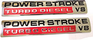 2pcs Power Stroke Turbo Diesel V8 Fender Emblems Replacement for F250 F350 F450 Chrome/Red
