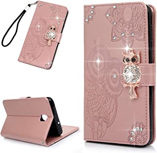 Galaxy J7 V 2nd Gen Case, Diamond Wallet Flip Folio Case Kickstand Card Slots Wrist Embossed Owl PU Leather Wallet Drop Resistant TPU Bumper Shell Protective Cover for Samsung Galaxy J7 - Rose Gold