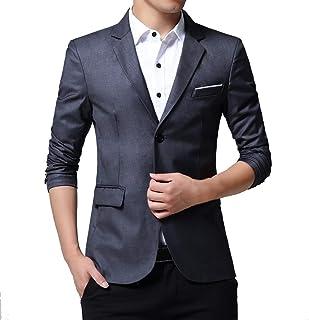 HOOUDO Men Blazer,Autumn Winter Sale Plus Size ClassicFormal Business Solid Color Single-Breasted Slim Fit Tuxedo Jackets...