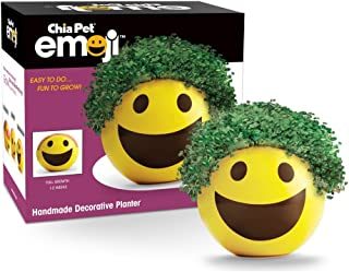 Chia Pet Emoji Smiley with Seed Pack, Decorative Pottery Planter, Easy to Do and Fun to Grow, Novelty Gift, Perfect for An...