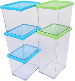 Stack Smart Convenient Door Pocket food Storage Container airtight with lid bpa free 24 Piece Set, Blue/green