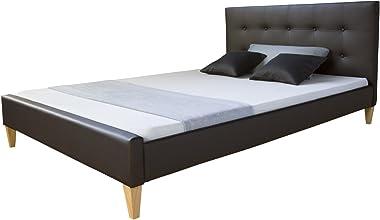 Homestyle4u Cadre de lit Double capitonné en Simili Cuir Marron Petit modèle