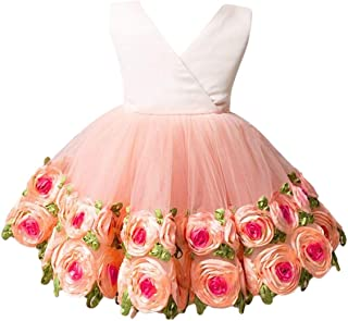 OBEEII Flower Girl Tutu Dress Wedding Birthday Party Formal Event