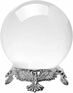 Amlong Crystal Small Clear Crystal Ball 50mm (2 inch) Diameter with Silver Eagle Stand
