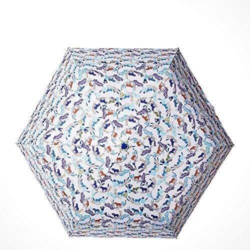 YNHNI Paraguas de verano, paraguas de tendencia personalizada, paraguas literario fresco, paraguas impreso a la moda, paraguas UV, portátil (color A: A)