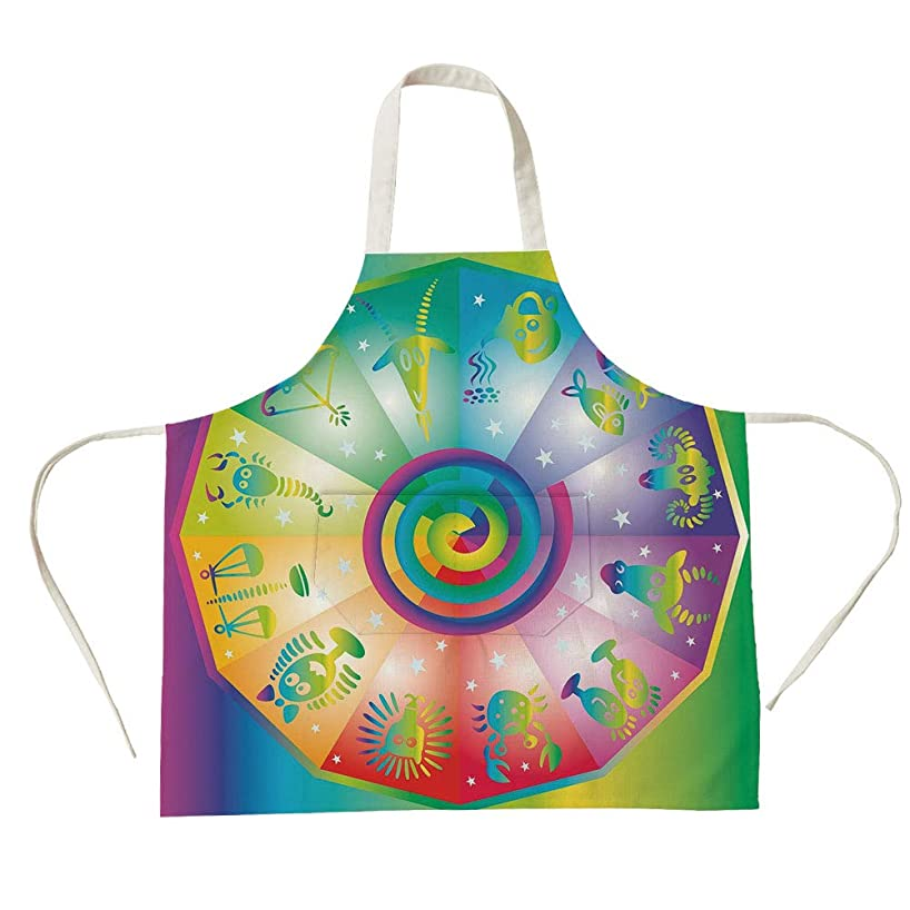 3D Printed Cotton Linen Big Pocket Apron,Astrology,Ethnic Hippie Style Rainbow Colored Stars Backdrop with Horoscope Signs Image Decorative,Multicolor,for Cooking Baking Gardening