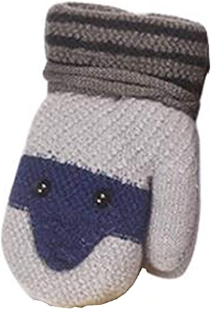Baby Mittens on String Toddler Gloves Baby Snow Mittens Kids Winter Thick Thermal Full Finger Gloves Infant Baby Magic Gloves Mitts Warm Knitted Ski Snow Gloves for Boys Girls