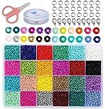 Tenwind 2mm Cuentas de Colores,24000 Piezas Mini Cuentas de Vidrio para los niños,Con Cuerda de Cristal para Pulseras DIY Manualidades (24 Colores)
