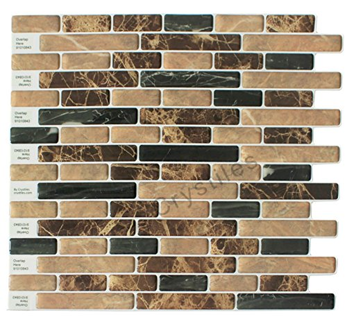 Crystiles Brown and Black Marble 10in. x 10in. Peel and Stick Vinyl Wall Tile Backsplash (6-Pack)