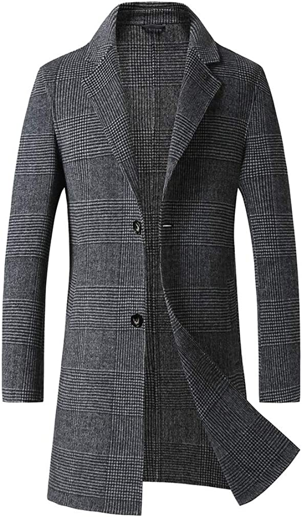 North Palmer Men's Plaid Pattern Double Sided Wool Coat Single Breasted Lapel Collar Long Pea Coat (XXL)
