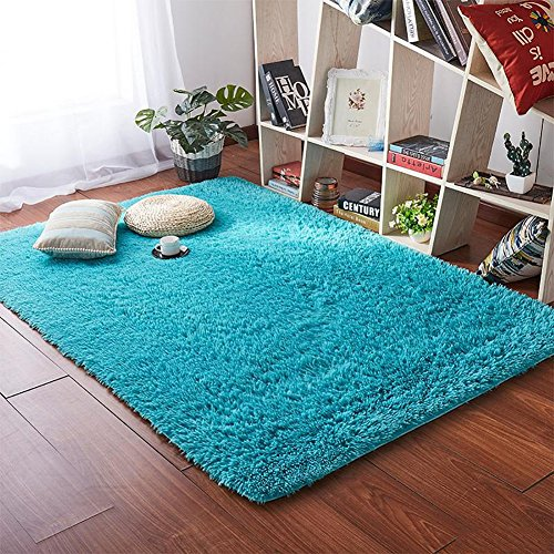 Softlife Fluffy Area Rugs for Bedroom 4' x 5.3' Shaggy Floor Carpet Cute Rug for Girls Kids Living Room Nursery Home Decor, Turquoise Blue