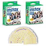 Fujifilm Instax Wide Instant 40 Film for Fuji Instax Wide 210 200 100 300 Instant Photo Camera Plus Emoj Smiley Stickers