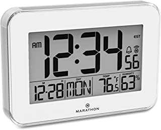 MARATHON CL030060WH Designer Atomic Wall Clock with Polished Acrylic Bezel. Displays Calendar, Indoor Temperature and Humidity. (White)