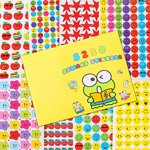Sinceroduct Reward Stickers for Kids, Value Pack of 80 sheets, total 5220 Reward stickers, Incentive Stickers for Kids Various Design Styles Including Smiley Face Stickers & Star Stickers Supplies Tea