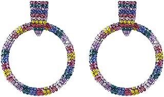 Women Large Hoop Earrings Ladies Gifts Crystal Dangle Jewelry Drop Pendant (Multicolor)