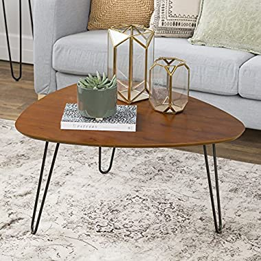 WE Furniture 32  Hairpin Leg Wood Coffee Table - Walnut