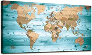 World Map Poster Wall Art for Office Decor Vintage Photos Canvas Prints Nautical Decor Large Modern Framed Art Map of The World Canvas Art Wall Maps Pictures for Living Room Home Decor 24 x 48 Inches