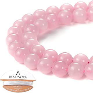 BEADNOVA Natural Rose Quartz Beads Natural Crystal Beads Stone Gemstone Round Loose Energy Healing Beads with Free Crystal Stretch Cord for Jewelry Making (8mm, 45-48pcs)