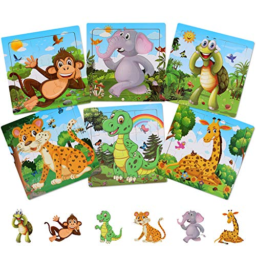 NASHRIO Wooden Puzzles for Toddlers 2-5 Years Old(Set of 6)  9 Pieces Preschool Educational and Learning Animal Jigsaw Puzzle Toy Gift Set for Boys and Girls