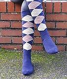 Rhinegold Cool and Dry - Calcetines de equitación con suela acolchada, color azul marino y beige