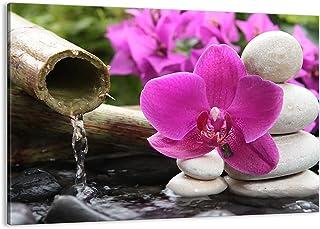 Impression sur toile - Image sur Toile - Un élément - Orchidée bambou décoration spa - 70x50cm - Decoration murale - Encad...