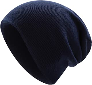 Unisex Long Beanie Hats Slouchy Winter Warm Acrylic Cuffed Watch Caps for Daily Wearing(Navy Blue)