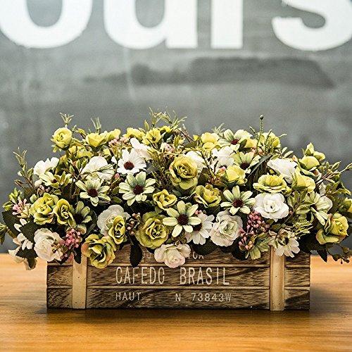 Jnseaol Fleurs Artificielles Arrangement Floral Bonsaï Pot en Bois Décoration pour Maison, Jardin, Cuisine, Mariage Et Magasin pour Amie Saint Valentin, Fête des Mères Vert