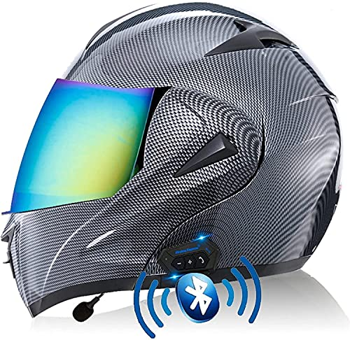 Motorbike Helmet Casco Bluetooth MTB Integral, Crash Cascos de moto Casco de moto abatible ABS aprobado por ECE / DOT con protección contra la lluvia Viseras antivaho S-XL YSDKJ628(Color:B;Size:XL)