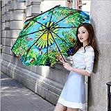 RJGOPL Pavimento in vinile 3D a doppio ponte 3 Pieghevole da sole Protezione UV unisex Parapluie verde Paragua Ombrello da pioggia Parasole Impermeabile da donnaNo 2