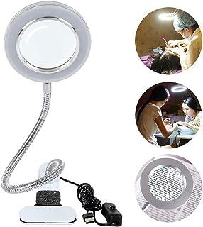 WM Lámpara Escritorio Lupa LED 8X con Abrazadera Cuello de Cisne Flexible de 360 °con Abrazadera de Metal Clip Alimentado por USB con 2 Configuraciones de luz Ajustables para Manicura/Trabajo/ Tatuaje