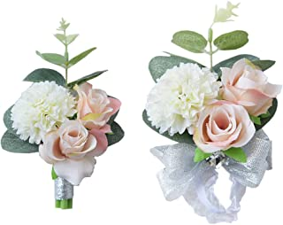MOJUN Boutonniere and Wrist Corsage Set Wedding Flowers Accessories Prom Suit Decoration