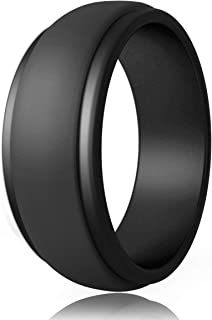 POPCHOSE Silicone Wedding Ring for Men, Mens Silicone Rubber Wedding Bands, Thin Breathable Silicone Ring Size 7 8 9 10 11 12 13, 1 Pack