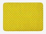 ABAKUHAUS Retro Tapete para Baño, Resumen repetitivo Bat Imagen, Decorativo de Felpa Estampada con Dorso Antideslizante, 45 cm x 75 cm, Amarillo y Azul